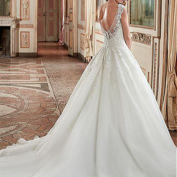 [166.99] Glamorous Tulle & Organza Scoop Neckline A-Line Wedding Dresses With Lace Appliques - dressilyme.com
