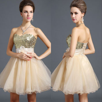 2016 Cute Mini Rose Blue Champagne Black Organza Homecoming Prom Dress Puffy Dance Party Dresses Cheap Discount Zone Stock 6 -16
