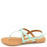 Qupid Crisscrossing Strappy Thong Sandals by Charlotte Russe - Mint