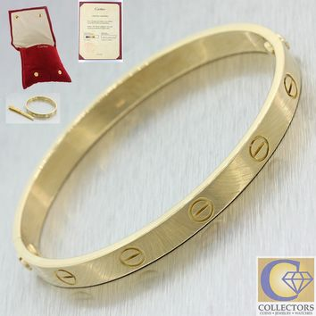 Cartier 18k Solid Yellow Gold Love Bangle Bracelet size 17 w Paper Pouch