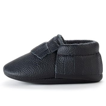 BIRDROCK BABY BLACK GENUINE LEATHER BABY MOCCASINS