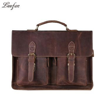 Men's Genuine Leather briefcase Vintage Business bag Cowhide Laptop Handbag Work PC messenger bag Durable buckle flap