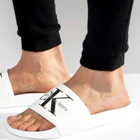 Calvin Klein Casual Woman Fashion Sandals Slipper Shoes white
