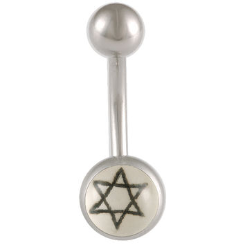 David Star Logo Ball End Belly Button Ring For Girls [Gauge: 14G - 1.6mm / Length: 10mm] 316L Surgical Steel