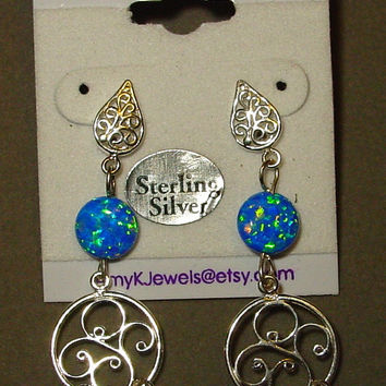 SALE Earrings. Blue Opal Earrings, Great for Bridal Jewelry. Sterling, Blue Opal Dangles. Sterling Filigree wires. Choose color.