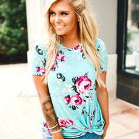 What You Need Floral Knot Top (mint)