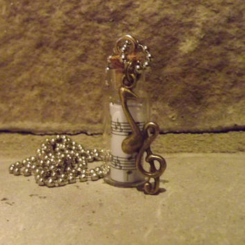 Music in a Bottle Necklace