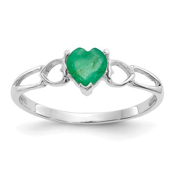 14k White Gold Genuine Emerald Heart May Birthstone Ring