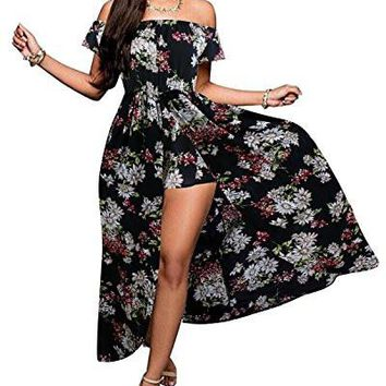 Women's Romper Dress Off Shoulder Floral Rayon Party Split Maxi Romper Dress S-3XL