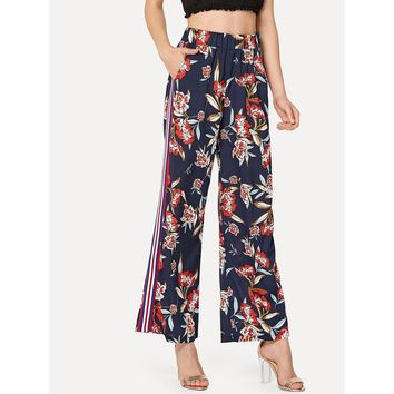 Botanical Print Striped Side High Waist Pants