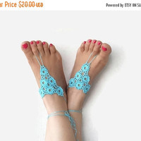 SALE 20% Beach Wedding Barefoot Turquoise Crochet Sandals - Bottomless Sandals - Nude Foot Jewelry - Summer Yoga Beach Sandals