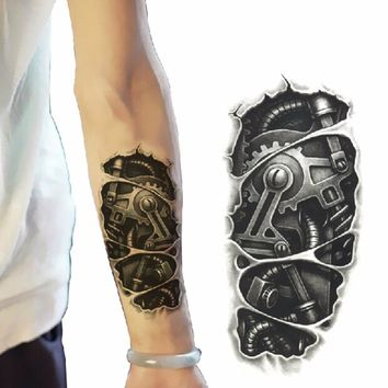 3D Large Shoulder Tattoos Temporary Tatto Men Temporary Waterproof Man Tattoo Arm Sticker Fake Arm Sleeve Body Tattoo