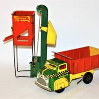 Vintage 1950s Wyandotte Toy Dump Truck and Sand Loader Construction Set