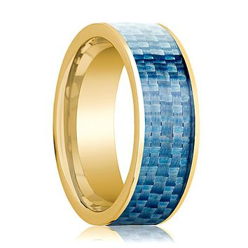 Mens Wedding Band 14K Yellow Gold with Blue Carbon Fiber Inlay Flat Polished Design