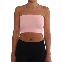 Women's Strapless/Seamless Tube Top Bandeau - Light Pink