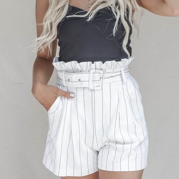 The Resort Paperbag Stripe Linen Shorts
