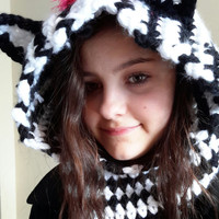 Hooded zebra cowl. crochet. Made by Bead Gs on ETSY. Hot Pink zebra. size 6 to 10 years. Zebra hat. ears.