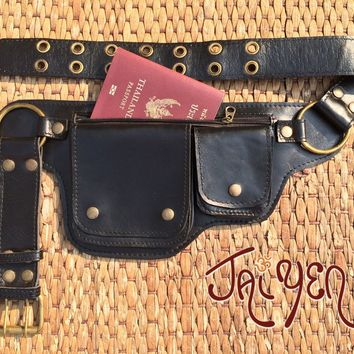 Utility Belt / Leather Fanny Pack / Festival Pouch / iphone Passport Belt - HIPSTER
