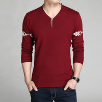 Winter Sweater Slim Knit Long Sleeve Stylish V-neck T-shirts Bottoming Shirt [6544136387]