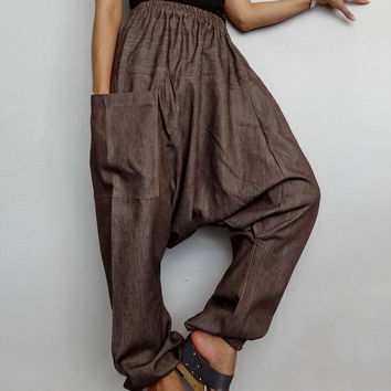 Unisex Baggy Harem pants,Drop Crotch Long Trouser, Denim Brown Lightweight (pants-27).