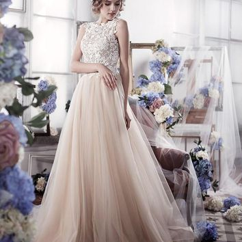 Champagne 2017 Sexy Backless Beach Wedding Dresses A Line Tulle Bohemian Bridal Gowns Vestidos De No