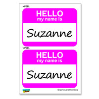 Suzanne Hello My Name Is - Sheet of 2 Stickers