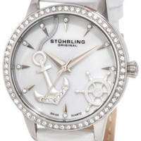Stuhrling Original Women's 520.1115P7 Vogue Audrey Verona Del Mar Swiss Quartz Mother-Of-Pearl Swarovski Crystal White Watch