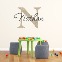Boys Name and Initial Printed Wall Decal