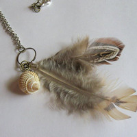 Feather and Shell Necklace