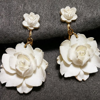 Featherweight Faux Ivory Rose Clip Earrings!