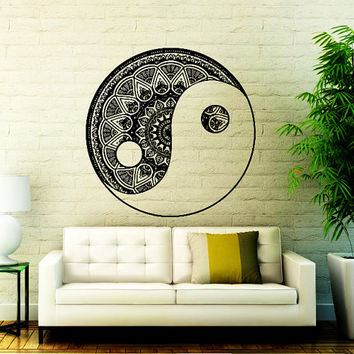 Mandala Wall Decal Yin Yang Yoga Studio Vinyl Sticker Decals Ornament Moroccan Pattern  Home Decor Boho Bohemian Bedding Bedroom Art  NA366