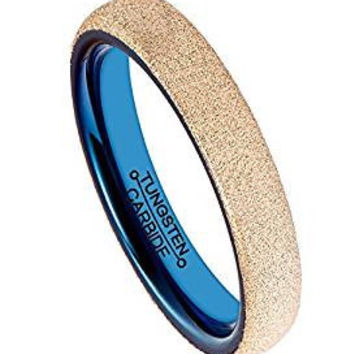 4MM Tungsten Carbide Wedding Ring Rose Gold Plating Sandblasted Surface Blue Plated Inner Comfort Fit (14k, 18k Rose Gold)