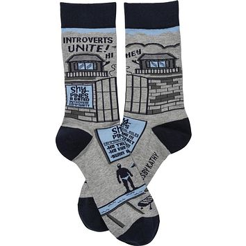 Introverts Unite Socks in Gray, Blue and Black