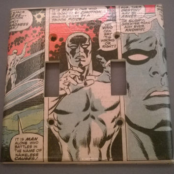Silver Surfer comic book light switch cover double toggle