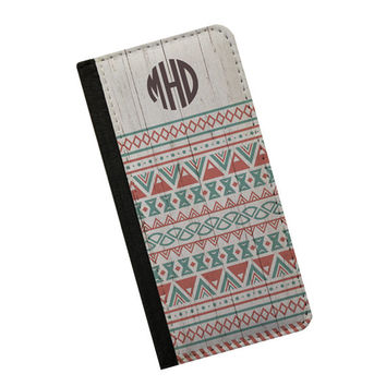 Aztec wood print iPhone 6 case monogram neutral colors phone wallet case, Samsung Galaxy Note 5 Note 4 iPhone 5s wallet case iPhone 5c case