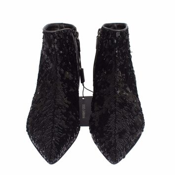 Dolce & Gabbana Black Sequined Pointy Flat Ankle Boots Shoes