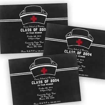Modern Chalk Nurse Graduation - Nurse Reunion Invitations - Medical Hat - Custom Color Graduation Announcement - Medical Party Invitations