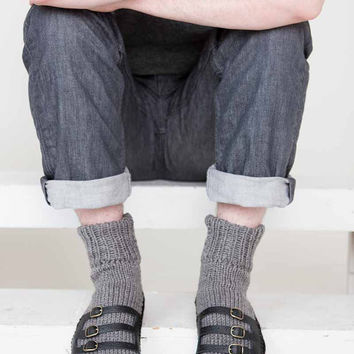 Mens Slipper Socks Mens Knit Slippers Grey Black Sandal Sock Mens House Slippers Gray Mens knit Socks Leather Straps