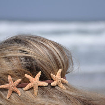 Triple Starfish Headband Three Starfish on by ShepherdoftheSea