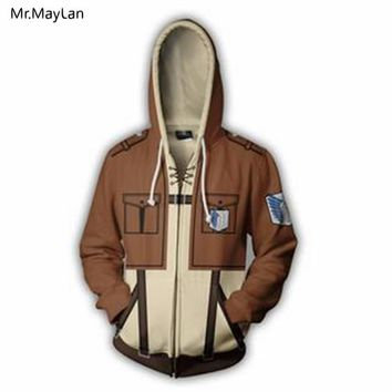 Cool Attack on Titan Hipster 3D Print Anime  Zipper Hoodies Men/Women Cosplay Punk Streetwear Sweatshirts Coat Jacket Boys Tracksuits AT_90_11