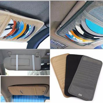 Free Shipping Car DVD CD Holder 12 Discs Storage Case Organizer Sun Visor Sleeve Wallet Holder Clip Bag Pocket Car Accessories