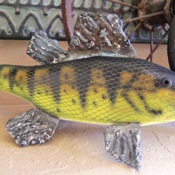 Fishing Decor - Handcarved Painted Handcrafted Wood Metal Fish Rustic Father's Day Cabin Mancave Office Gifts for Dad Husband Grandpa Groom