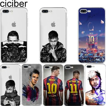 ciciber Barcelona 2017 Messi Neymar Ronaldo Transparent soft silicon TPU case cover For iphone 7 6 6S 8 plus 5S SE X Fundas