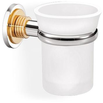SCBA Versus Wall Frosted Glass Toothbrush Toothpaste Holder Bath Tumbler, Brass