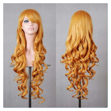 Women New Fashion Women Girl 80cm Wavy Curly Long Hair Full Cosplay Party Sexy Lolita wig  golden