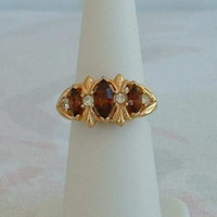 AVON Victorian Style Triple Amethyst Ring Size 7 w sizer Navette Marquise Cut