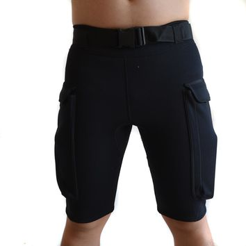 Free Shipping WYOTURN 2MM Wetsuit Neoprene Diving Shorts Surfing Shorts Adjustable Waist Swimming Shorts Surfing Pocket Shorts