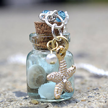 Ocean in a bottle - Glass Bottle Necklace - Ocean Necklace - seashell necklace - Under the sea - Nautical Necklace - Beach Jewelry