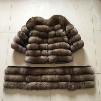 2017100% 100% natural fur long coat fox fur New fashion gilet winter high quality women fur vest real fox fur coat