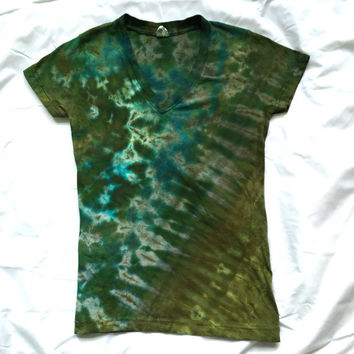 Small December Moss Tie Dye Junior's Tshirt